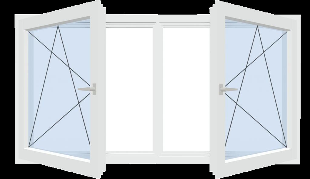 Fensterkonstruktion mit festem Pfosten
