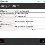 Filtert in der Rechnungsübersicht die Rechnungen heraus, die Sie möchten.