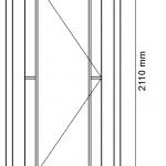 Innentür mit 105 mm breitem Fries und Randsprosse
