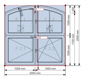 Fensterkonstruktion: Bogenhöhe einstellen