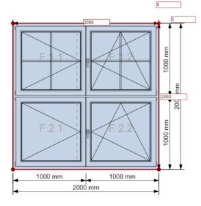 Fensterkonstruktion Eckpunkt verschieben
