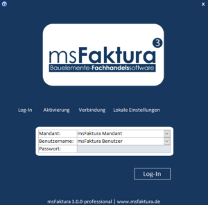msFaktura 3: Login-Formular