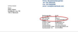 Belege: Umsatzsteuer-ID