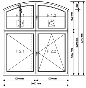 Segmentbogen-Fenster 4-flügelig