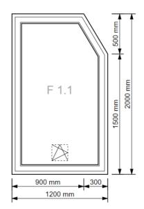 Fenster einseitig abgeschrägt (5-Eck)