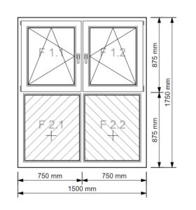 Fenster Unterlicht mit schraffierter Füllung